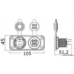 Панел 2xUSB + запалка 12V вграден 3