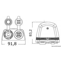 2xUSB с контакт12V външен монтаж 3