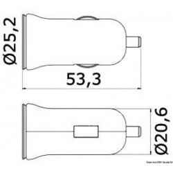 АДАПТЕР за USB с два порта 12/24V 2.5A 3