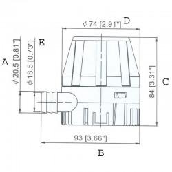Помпа за изпомпване на трюмна вода ТМС 450-1250GPH 12V Тайван 2
